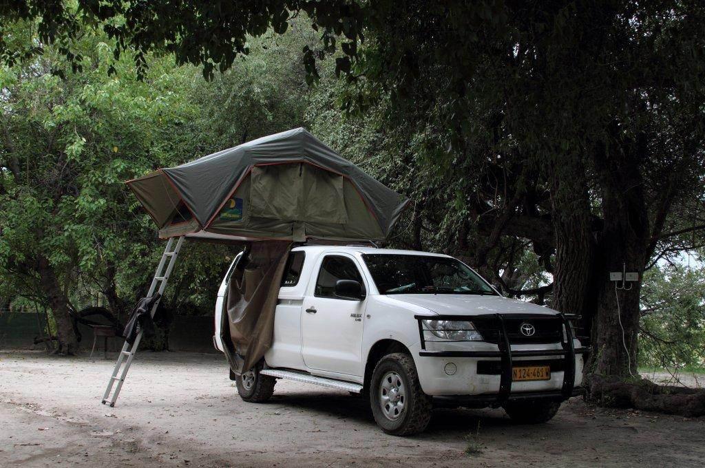 Camper set up in the campsite, Island Safari Lodge