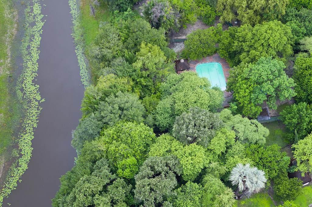 Island Safari Lodge campsite from the air
