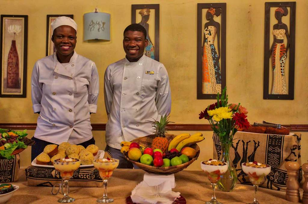Waiters ready to serve breakfast
